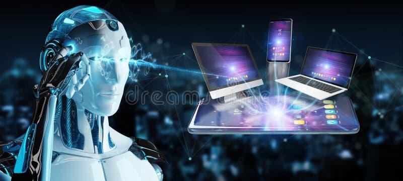 Современные приборы соединились в переводе руки 3D робота бесплатная иллюстрация