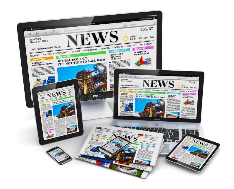 Современные приборы средств массовой информации компьютера иллюстрация штока