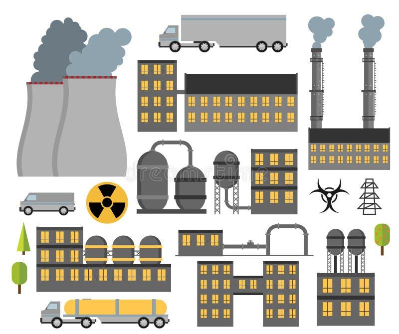 Современные промышленные плоские установленные здания Заводы и фабрики иллюстрация штока