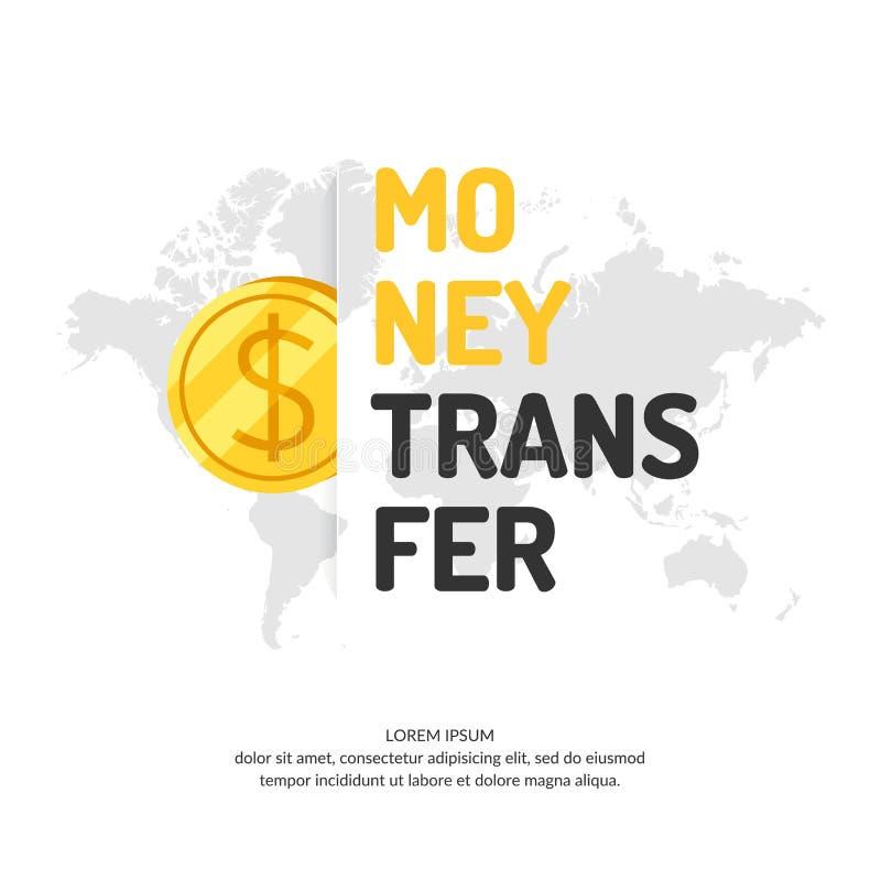 Современные плакат денежного перевода и указатель логотипа иллюстрация штока