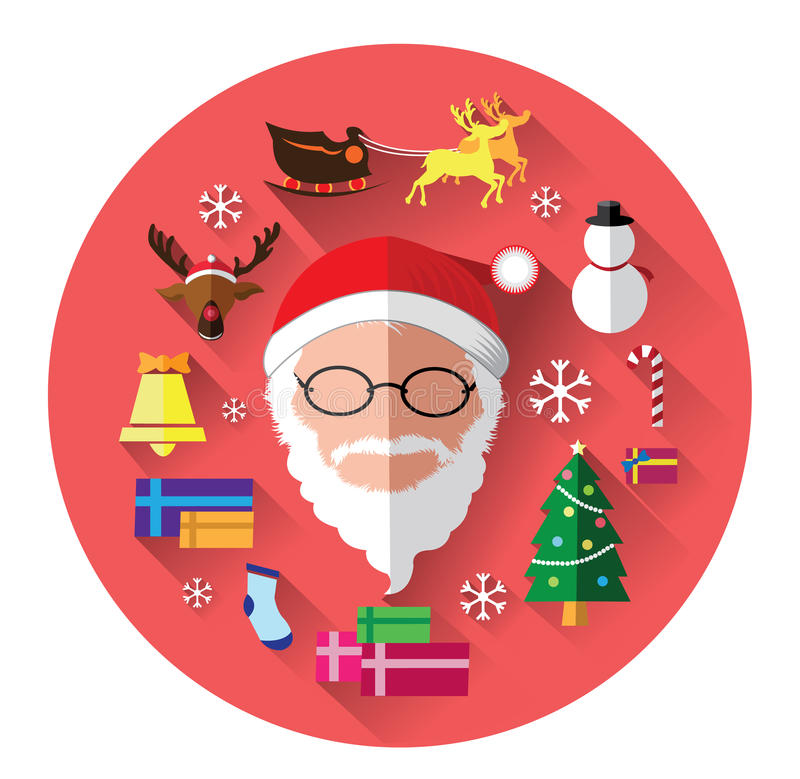 Современные плоские значки Санта Клауса и Рождества бесплатная иллюстрация
