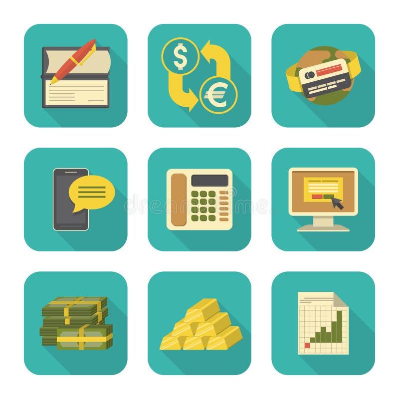 Современные плоские финансовые установленные значки иллюстрация штока