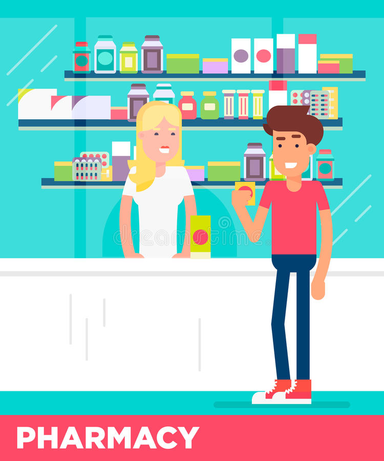 Современные плоские характеры 2 молодых человеков в магазине фармации бесплатная иллюстрация