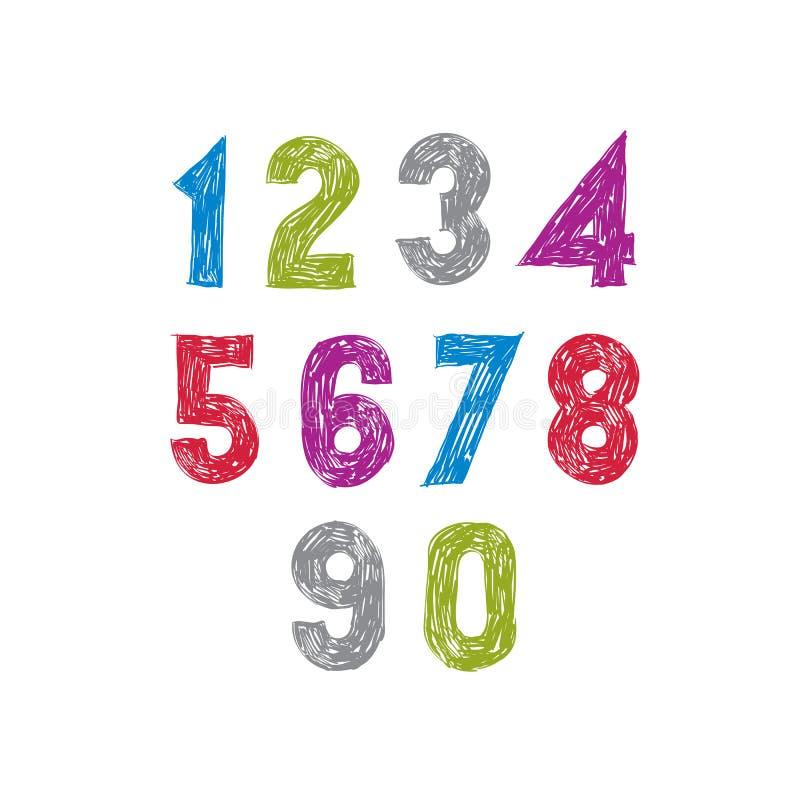 Современные рукописные числа вектора, цифры вектора иллюстрация штока