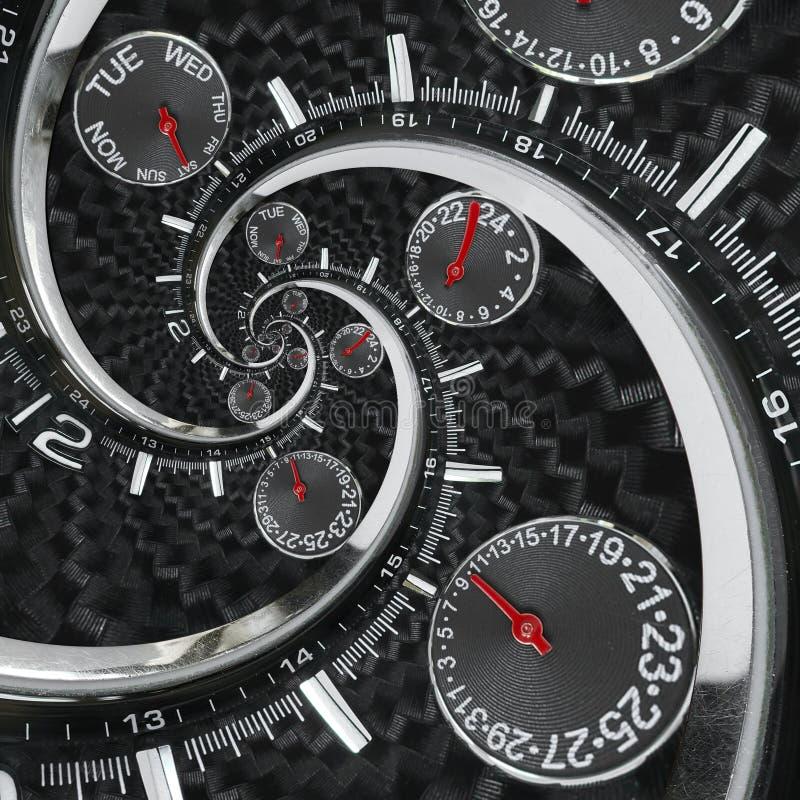 Современные серебряные черные руки часов вахты часов моды красные переплели к сюрреалистической спирали времени Abstrac вахты час стоковые изображения rf
