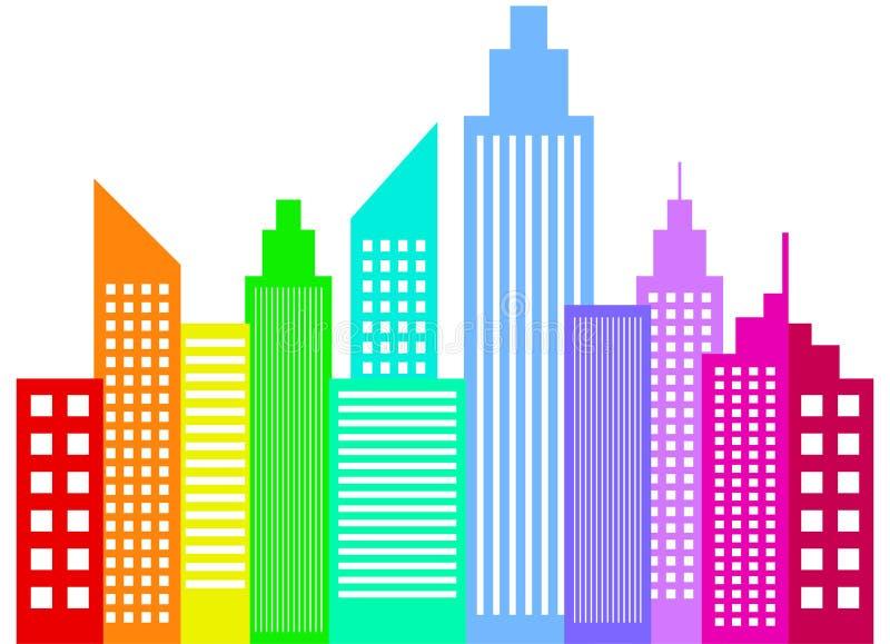 Современные силуэты зданий небоскребов города бесплатная иллюстрация