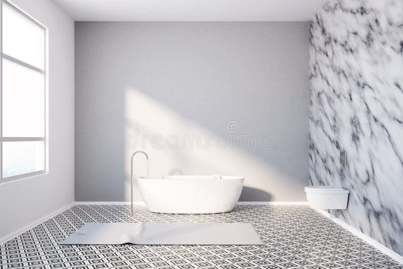 Современные стены мрамора ванной комнаты и белый ушат иллюстрация штока