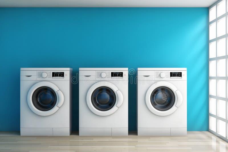 Современные стиральные машины в комнате перевод 3d иллюстрация штока