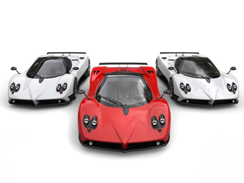 Современные супер гоночные машины - красные и белая сторона - мимо - сторона иллюстрация вектора