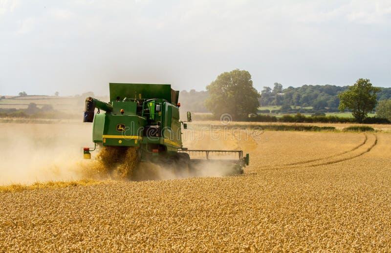 Современные урожаи вырезывания жатки зернокомбайна John Deere стоковая фотография
