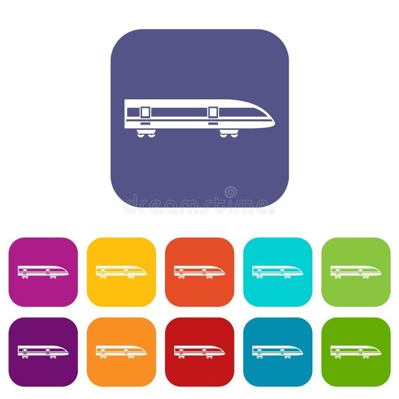 Современные установленные значки быстроходного поезда бесплатная иллюстрация
