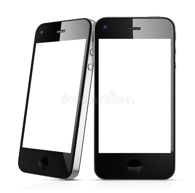 Современные черные умные мобильные телефоны иллюстрация штока