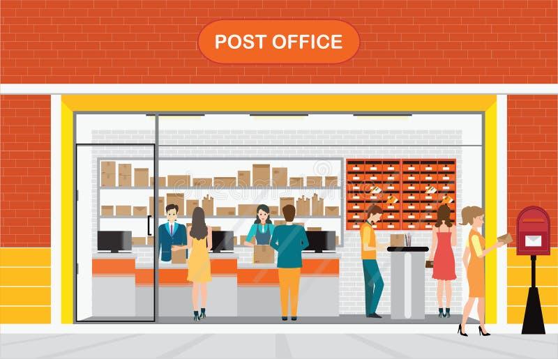Современные экстерьер и интерьер почтового отделения Building2 бесплатная иллюстрация