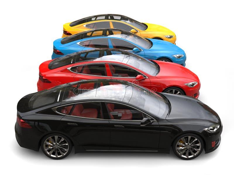 Современные электрические автомобили спорт в голубой, красной, желтой и черно- бортовой съемке иллюстрация штока