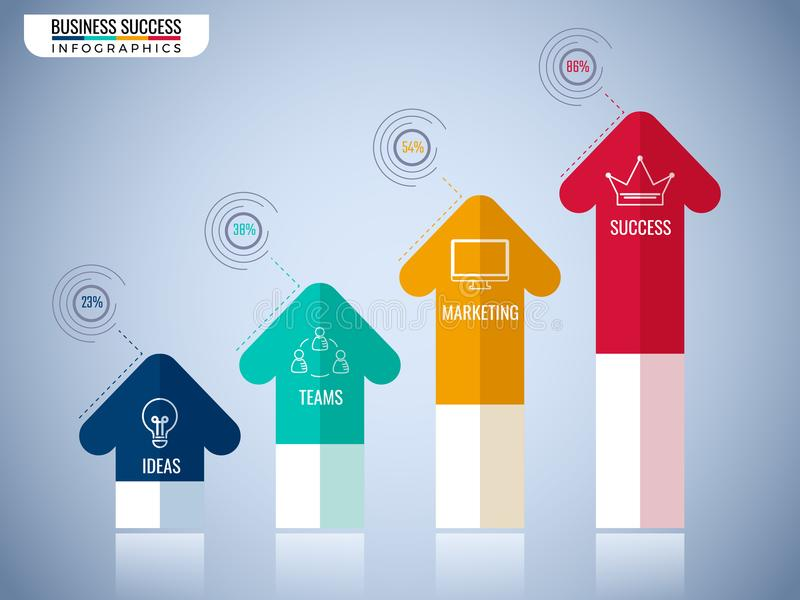 Современные элементы infographics стрелки Шаг к шаблону концепции дела успеха infographic смогите быть использовано для плана пот стоковые изображения