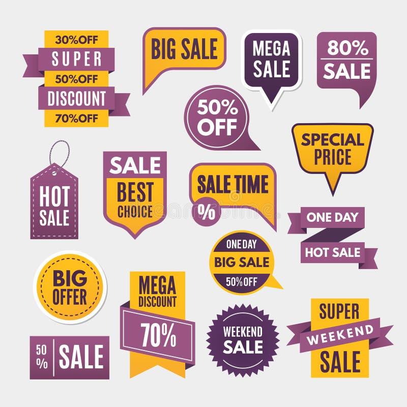Современные ярлыки, ленты и бирки для рекламировать иллюстрация вектора