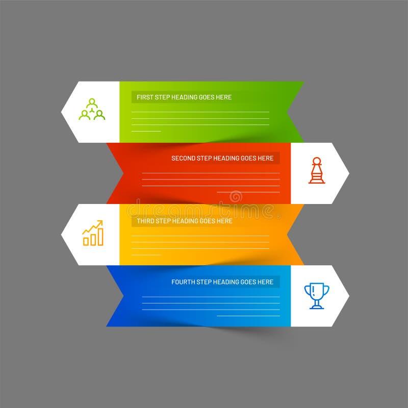Современные infographic стрелки или шаблон дизайна вектора с уровнем 4 иллюстрация штока