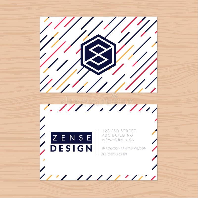 Современный абстрактный и чистый шаблон визитной карточки на striped предпосылке Плоский дизайн иллюстрация штока