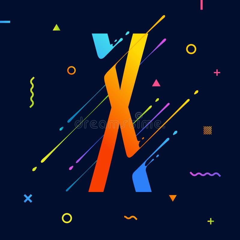 Современный абстрактный красочный алфавит с минимальным дизайном письмо x Абстрактная предпосылка с холодными яркими геометрическ иллюстрация вектора