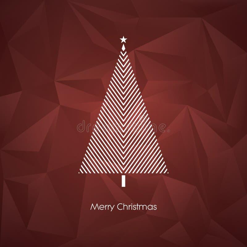 Современный абстрактный шаблон карточки вектора рождественской елки с линией символом праздника xmas искусства на низкой поли пре иллюстрация штока