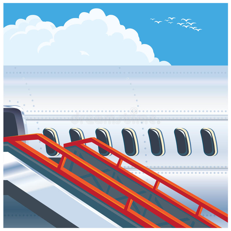 Современный авиалайнер двигателя иллюстрация вектора