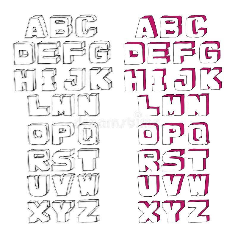 Современный алфавит акварели вектора стоковое изображение
