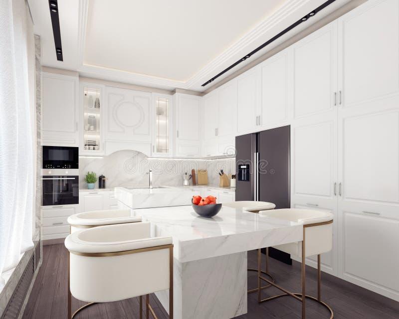 Современный белый дизайн интерьера кухни иллюстрация штока