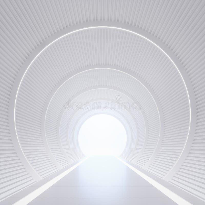 Современный белый интерьер с изображением перевода космоса 3d тоннеля иллюстрация вектора