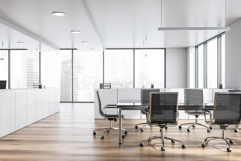 Современный белый пустой интерьер офиса с таблицей доски 3d представляют иллюстрация вектора
