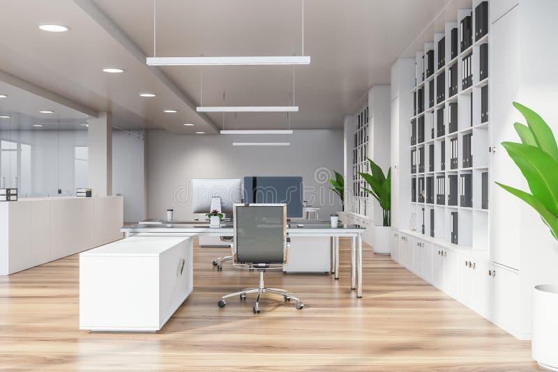 Современный белый пустой офис внутренний с dinning космосом 3d представляют 1 полет s птицы бесплатная иллюстрация