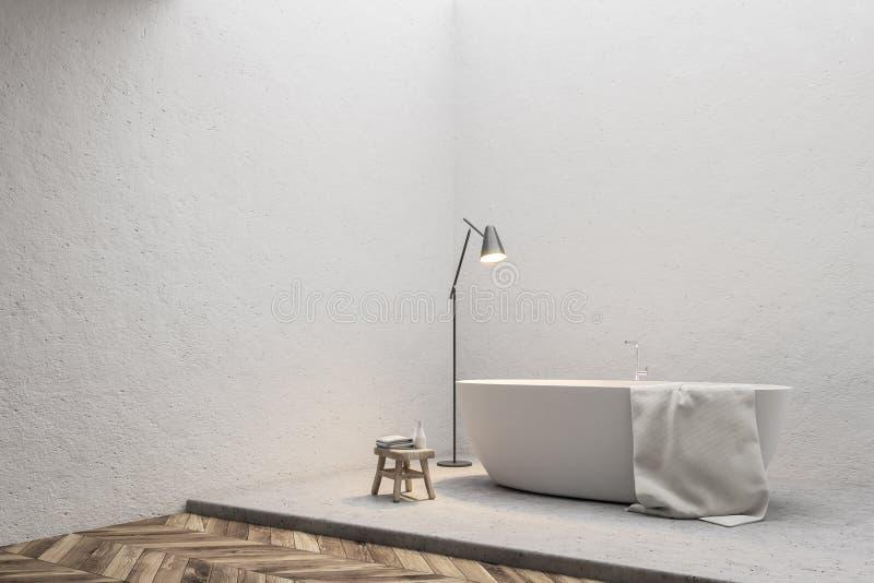 Современный белый угол ванной комнаты, минимализм бесплатная иллюстрация
