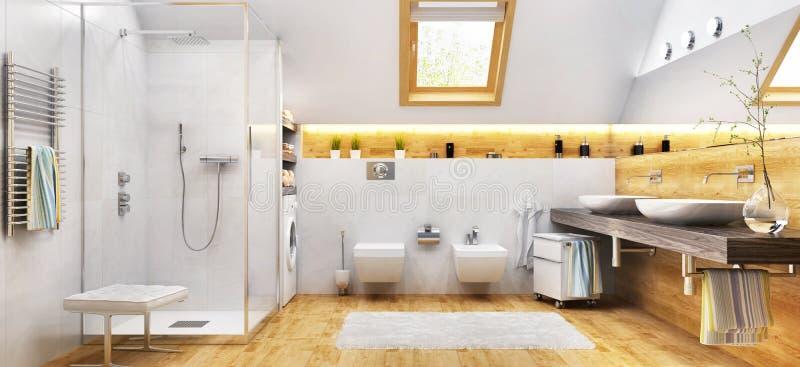Современный белый bathroom с ливнем и окном стоковая фотография rf