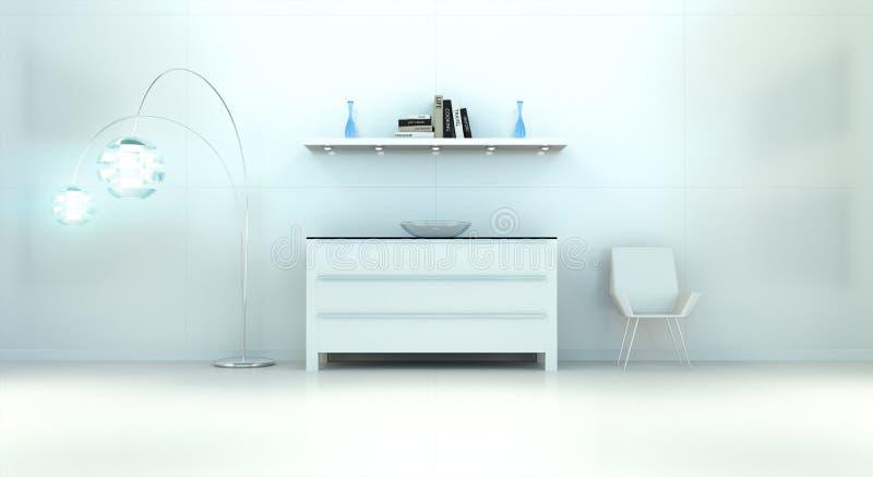Современный белый голубой интерьер с комодом ящиков и shelve 3D r бесплатная иллюстрация