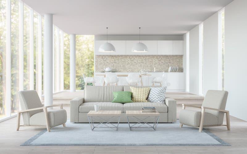 Современный белый перевод прожития, столовой и кухни 3D отображает иллюстрация вектора