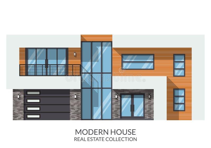 Современный большой дом семьи 2 этажей, недвижимость подписывает внутри плоский стиль также вектор иллюстрации притяжки corel бесплатная иллюстрация