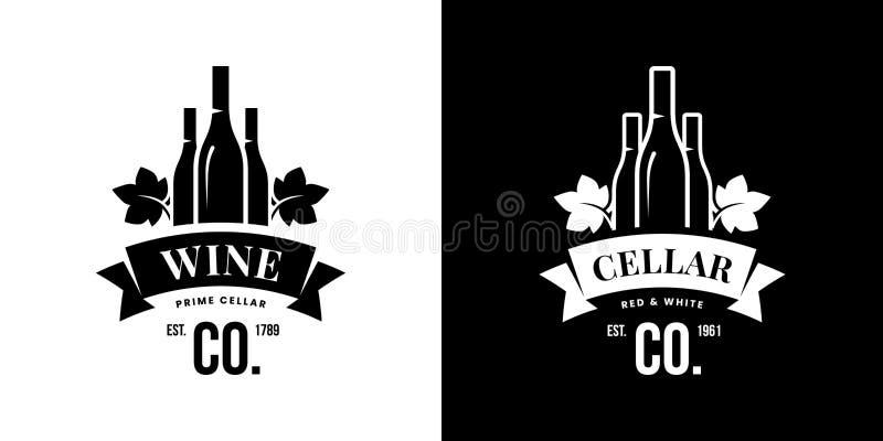 Современный вектор вина изолировал знак логотипа для паба, харчевни, ресторана, дома, магазина, магазина, клуба и погреба иллюстрация штока