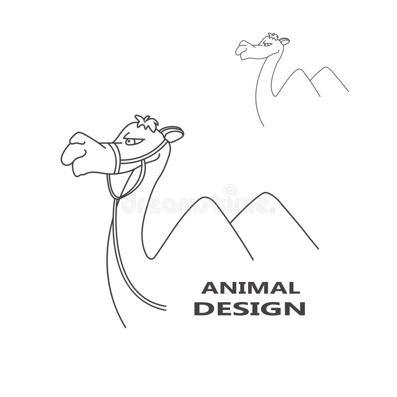 Современный верблюд логотипа дела в линии иллюстрации вектора стиля иллюстрация штока