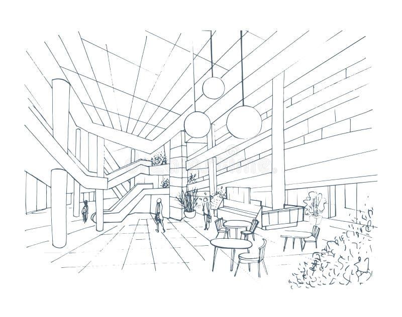 Современный внутренний торговый центр, мол Иллюстрация эскиза контура с фуд-корт иллюстрация вектора