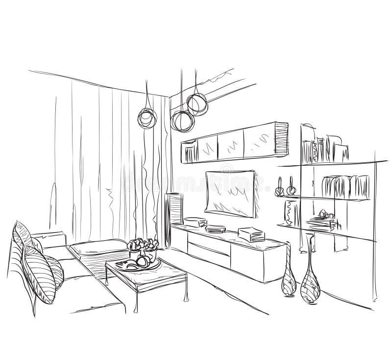 Современный внутренний эскиз комнаты стоковые изображения rf