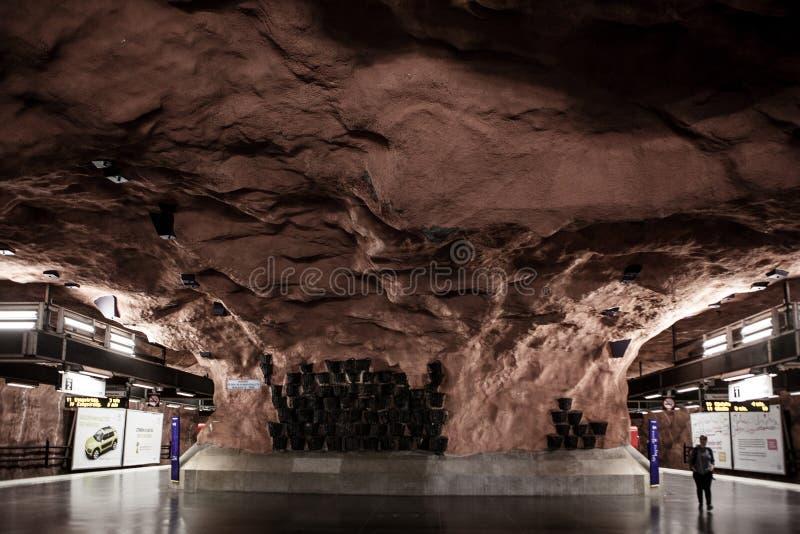 Современный вокзал метро Стокгольма стоковые изображения