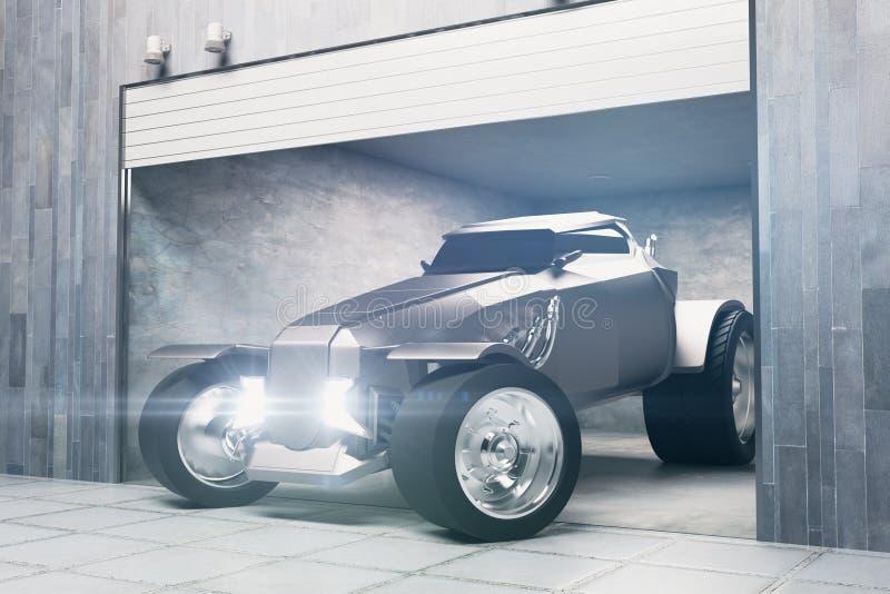 Современный гараж с автомобилем иллюстрация штока