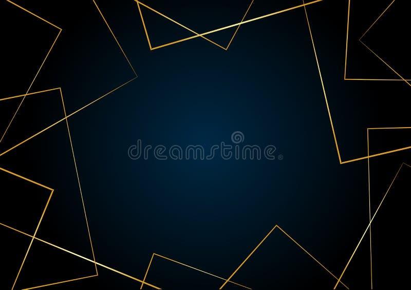 Современный геометрический темно-синий фон с золотыми линиями, спаза для текста Вектор иллюстрация штока