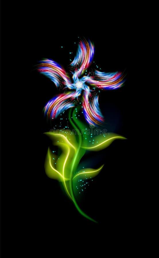 Современный голубой накаляя цветок Красочный орнаментальный флористический элемент в черной предпосылке Красивые ультрамодные заг иллюстрация вектора