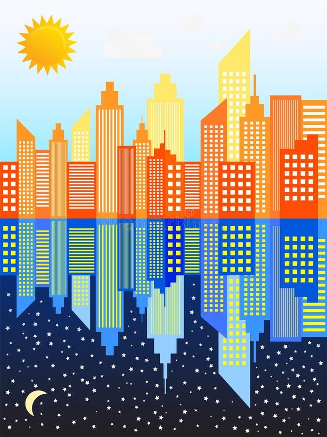 Современный горизонт небоскребов города все время иллюстрация штока