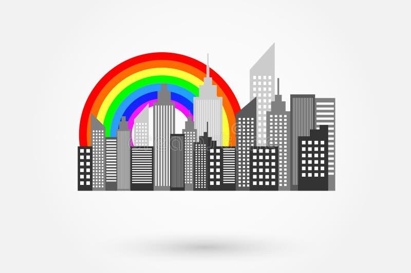 Современный горизонт небоскребов города с радугой бесплатная иллюстрация
