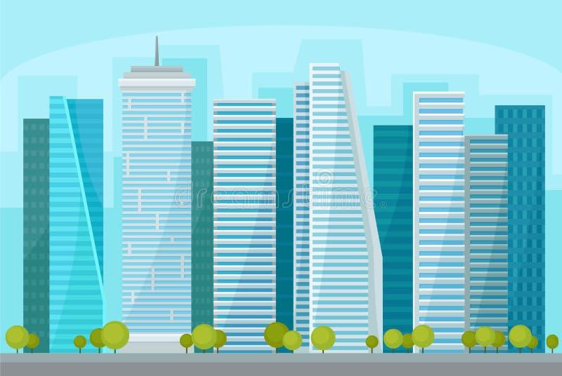 Современный городской пейзаж с небоскребами, организациями бизнеса на времени дня, городской панораме, векторе ландшафта улицы го иллюстрация штока