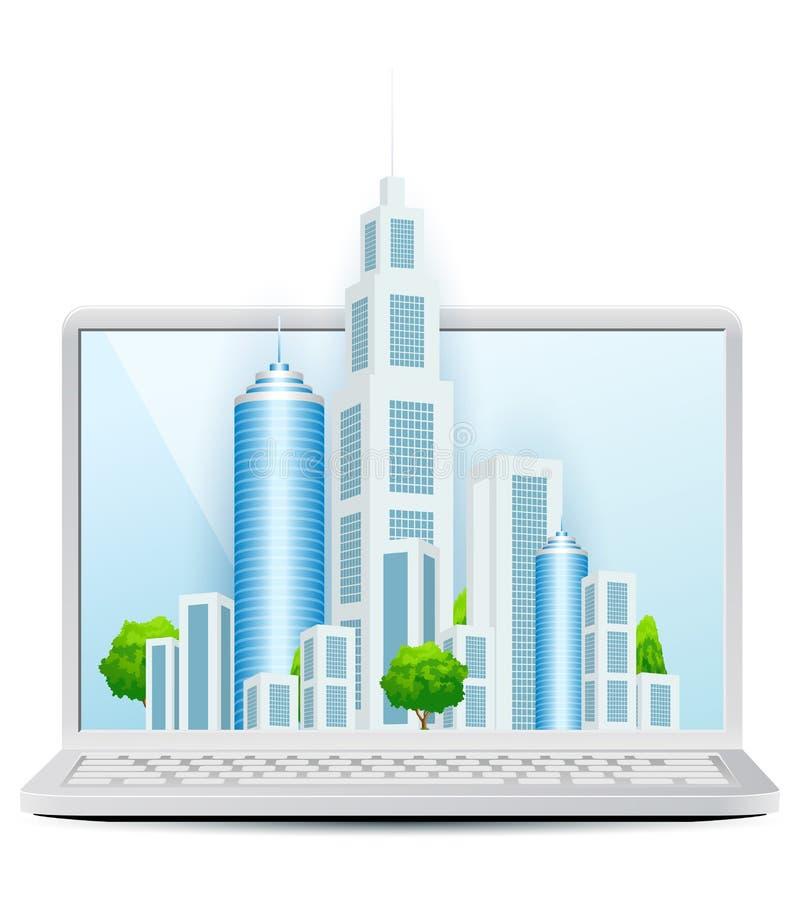 Современный город на значке компьтер-книжки на белой предпосылке иллюстрация вектора
