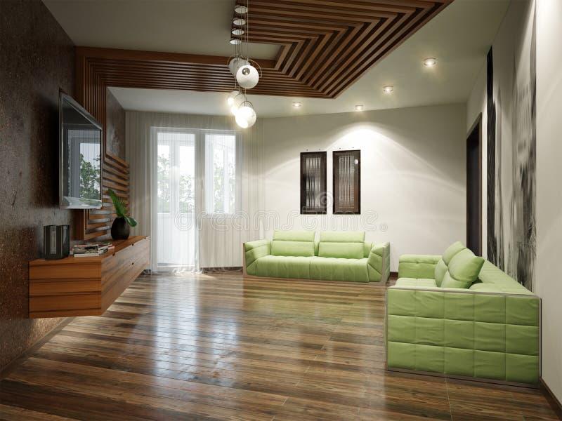 Современный городской современный дизайн интерьера живущей комнаты иллюстрация вектора