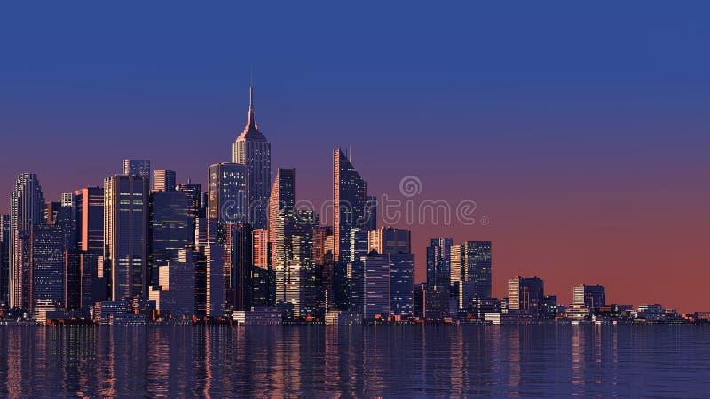 современный город 3D на воде иллюстрация вектора