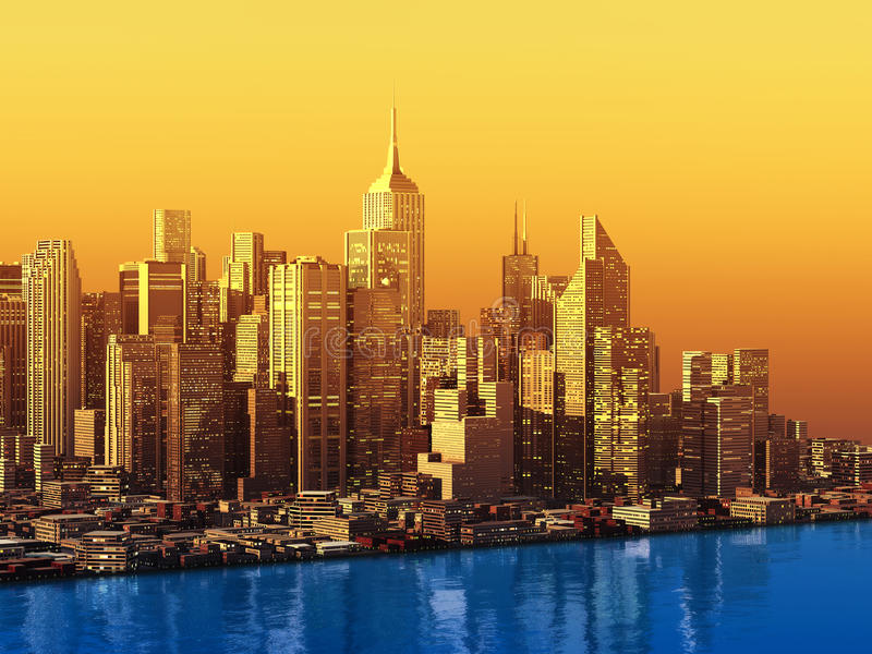 современный город 3D на воде иллюстрация штока